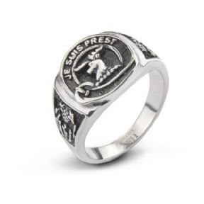 Outlander Inspired Stainless Steel Signet Ring 'Je Suis Prest' 9692